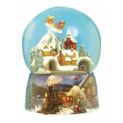 Χιονόμπαλα Άγιος Βασίλης και Τρένο