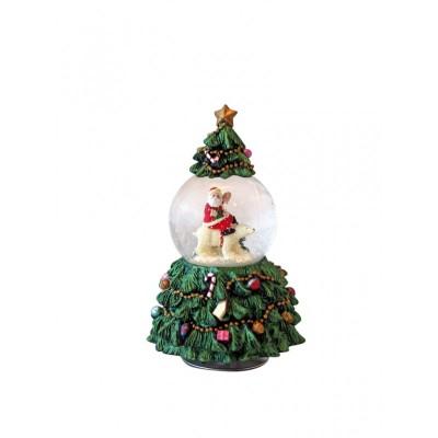 Μουσικό χριστουγγενιάτικο δέντρο με χιονόμπαλα