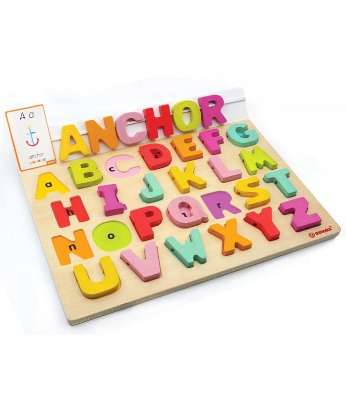 Ξύλινο Αγγλικό Αλφάβητο με Καρτέλες